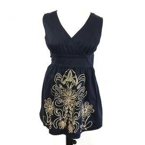 eShaki Navy Dress with Gold Embroidery Sz. 20